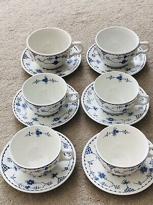 6x Denmark Blue White Furnivals Cup & Saucers Mixed Masons Franciscan Furnivals • 32£