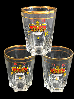 3x Vintage Eiir Shot Glasses Royalty Themed Dated 1953 Commemorative Ware • 9.99£