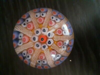 1970 Vintage  Millefiori Paperweight Multi Color Close Packed Canes OrangeGround • 0.99£