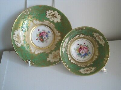 Vintage Crown Staffs Staffordshire Green & Gold Floral Cup And Saucer • 34.99£