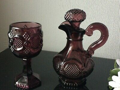 Vintage Avon Cape Cod Collection Ruby Red Small Decanter Glass & Goblet Cup Set  • 10£