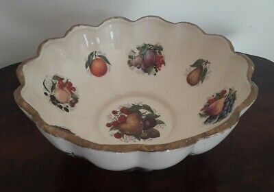 Vintage Staffordshire Fruit Bowl With Fruit Design With Gilding  • 6.50£