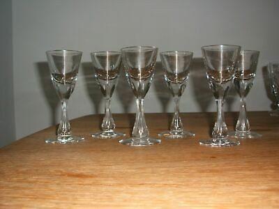 19thc ANTIQUE SET 6 FACET CUT , BUBBLE STEM TOASTMASTER LIQUEUR GLASSES  • 24.99£