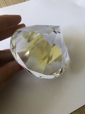 Large Solid Glass Diamond, Paperweight, Desk Ornament. • 1.60£