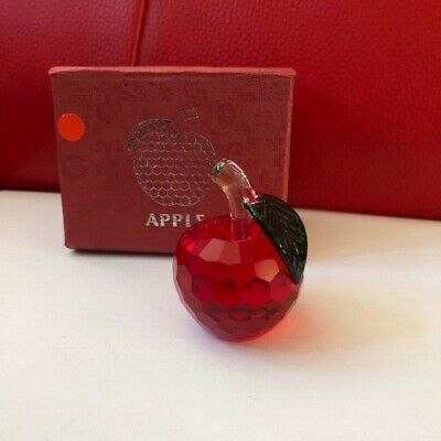 RED CRYSTAL GLASS APPLE Paperweight In Gift Box COLLECTABLE FIGURINE NEW • 1.20£