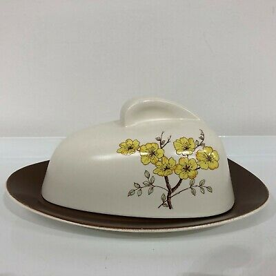 1950s Carltonware Butter/cheese Dish Mimosa Pattern Good Condition • 25£
