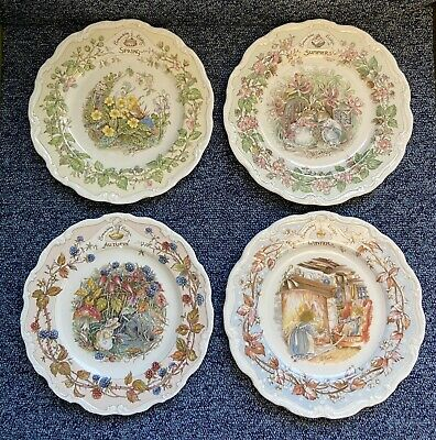 Royal Doulton Brambly Hedge 4 Collectors Plates 'Four Seasons' Jill Barklem 1982 • 31£