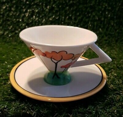 PAST TIMES.. CLARICE CLIFF STYLE CUP & SAUCER TALL TREES Immaculate Vintage 60's • 12£