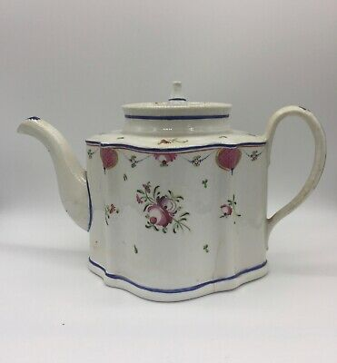 Antique English Porcelain Teapot And Cover, Factory Y Pattern 105, C1790 • 45£