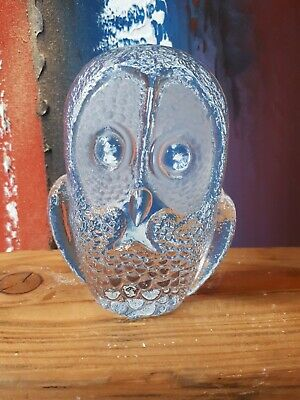 Kosta Boda Owl Carved Lead Crystal Glass Owl Numbered And Initials MJ • 17.50£