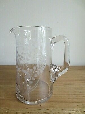 Antique Edwardian Glass Water Jug Etched Lily Of The Valley Design 1.5 Pint  • 19.99£