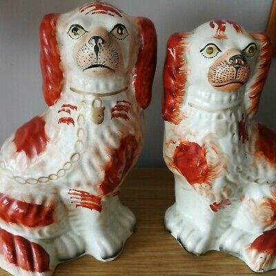 Antique Victorian Staffordshire Spaniel Dogs Pair Red White Collar And Chain • 19.99£