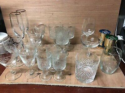 Vintage 1960s Pressed Glass, Drinking Glasses & Others Job Lot, Home Bar • 4.60£