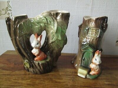 Vintage Withernsea Eastgate Fauna Pottery Two Rabbit Ornaments / Vases - Hornsea • 2.20£