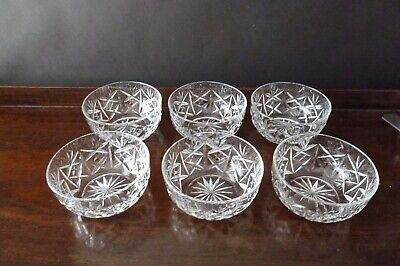 7 Vintage Crystal Finger Serving Pudding Bowls 1980's • 29£