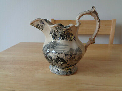 Antique Transfer Printed Water Jug With Images Of Hunting Scenes • 10£