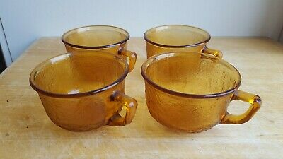 4 Vintage French Amber Coloured Glass Coffee Tea Cups  • 12£