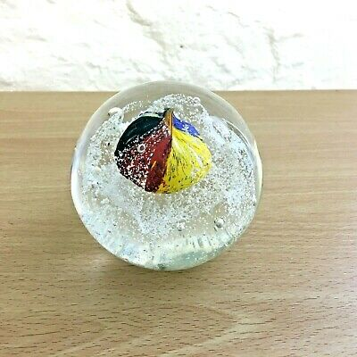 Glass Paperweight With Yellow, Green, Blue And Red Cent • 15£