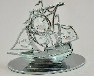 Crystocraft Ship Crystal Ornament Sail Boat With Swarovski Elements • 15£