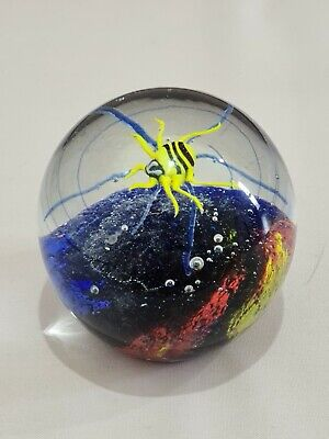 Spider Sensory Multicolour Volcanic Paperweight Ornament Glass Large Heavy • 13.50£