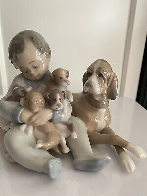 Lladro PLAYMATES Boy With Dog & Puppies Model 5456 Mint Condition • 22£