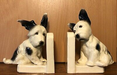 ANTIQUE PAIR OF SITZENDORF DOG BOOKENDS. No. 30279. EXTREMELY RARE. • 50£