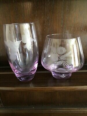 Set Of 2 Caithness Pink Glass Hand Made Vases • 7.50£
