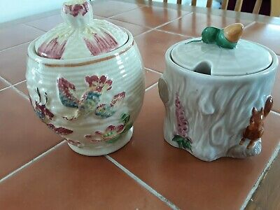 2 Vintage Honey Pots Crown Devon And Price Brothers Lily Flowerswith Birds • 8£
