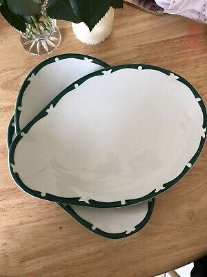 MADDOCK Ultra Vitrified.THREE OYSTER/CLAM OVAL PLATES. Green Rim. Pristine Cond • 10£
