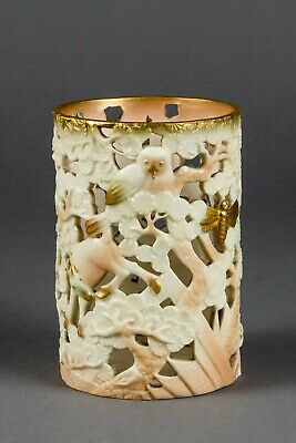 1930's Royal Worcester Hand-Decorated Porcelain Pierced Spill Vase Maple And Co. • 130£