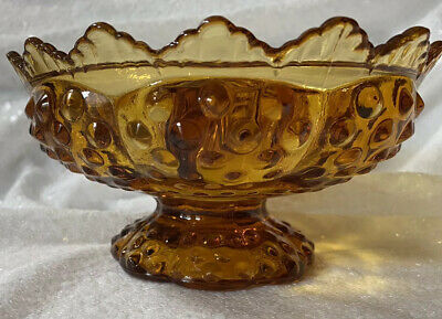 Vintage Fenton Art Glass Hobnail Colonial Amber Colored Candle Bowl Discontioned • 22.14£