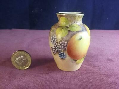 Lovely Miniature Vase Hand Painted Fruit & Signed D Wilson  Ex Royal Worcester • 79.99£