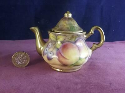 Miniature Teapot Hand Painted Fruit  & Signed  D Wilson Former Royal Worcester • 129.99£
