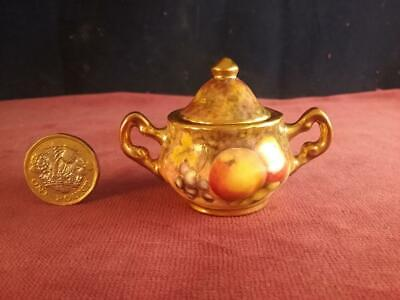 Miniature Sugar Box Hand Painted Fruit & Signed D Wilson Former Royal Worcester • 79.99£
