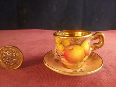 Miniature Cup & Saucer Hand Painted Fruit & Signed D Wilson  Ex Royal Worcester • 69.99£