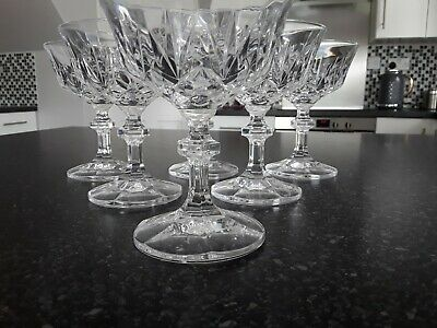 6 X Vintage Lead Crystal Champagne Coupes - Saucers - Glasses • 39.99£