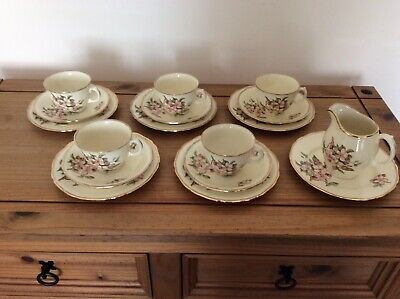 5 Royal Swan Blossom Time Trios, Extra Side Plate And Milk Jug • 25£