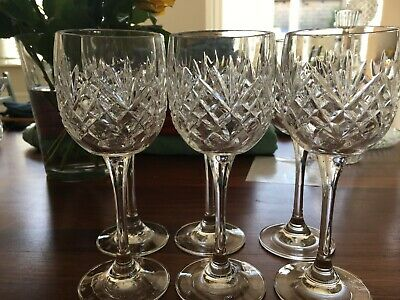 Lead Crystal Wine Glasses - Set Of Six - Excellent Condition - Unboxed • 3.40£
