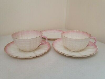 Belleek Second Black Mark Tea Cups And Saucers • 139.99£