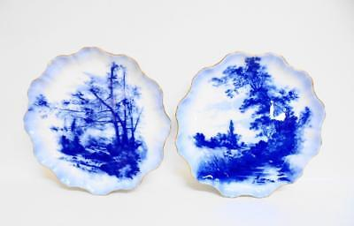 Two RARE Antique DOULTON Blue & White Plates Signed By Herbert Betteley 1887 • 150£