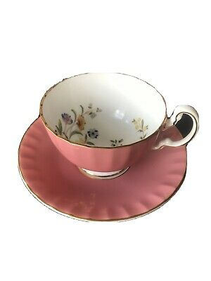 Aynsley Pink Butterfly And Flower Tea Cup And Saucer • 35£