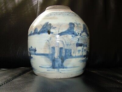 Antique Solid Late Ming Dynasty Chinese Blue And White Stoneware Ginger Jar • 195£
