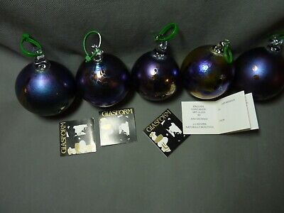 5 John Ditchfield Glasform Iridescent Glass Baubles Christmas Tree Decorations • 225£