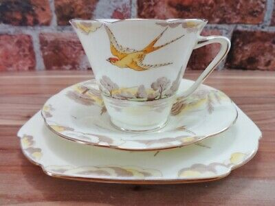 Royal Grafton Derwent Swallow Trio Cup Saucer Side Plate • 24.95£