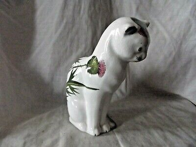 Vintage Wemyss Bovey Plichta Cat Decorated With Flowering Thistles • 125£