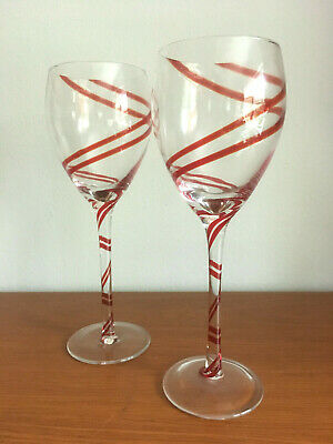 Pier 1 Imports SWIRLINE Double Stripe Red Blown Glass Wine Goblets X2 Retired • 26.16£