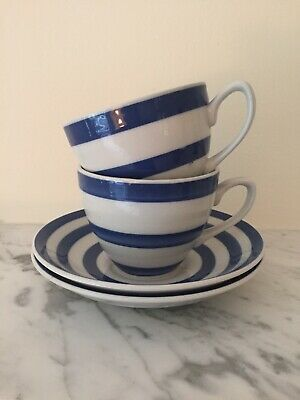 Swinnertons Somerset Blue White Stripe Vintage Cups And Saucers X 2 • 19.99£