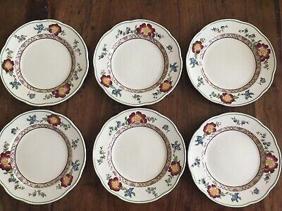 Crescent Old Swansea George Jones Pottery Floral Art Plates Cake X Set 6  • 12.99£