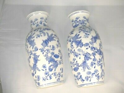 Vintage Pair Of Blue And White  Asian Style  Vase Shaped Wall Pockets • 25.77£