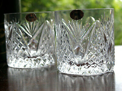 Tyrone Crystal Whiskey Tumblers Old Fashioned Pair Mint In Box • 45£